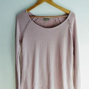 Lucky Brand Lace Trim Crossback Thermal Top
